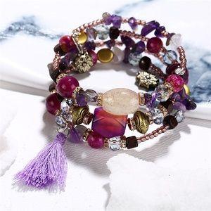 Jewelry - Boho Multilayer Crystal & Stone Tassel Bracelet